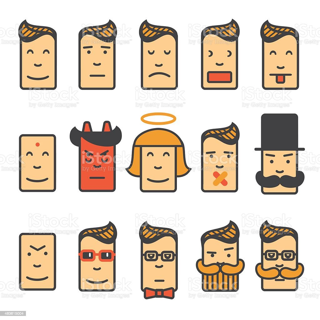Set of square emotion  icons with rounded corners. vector art illustration