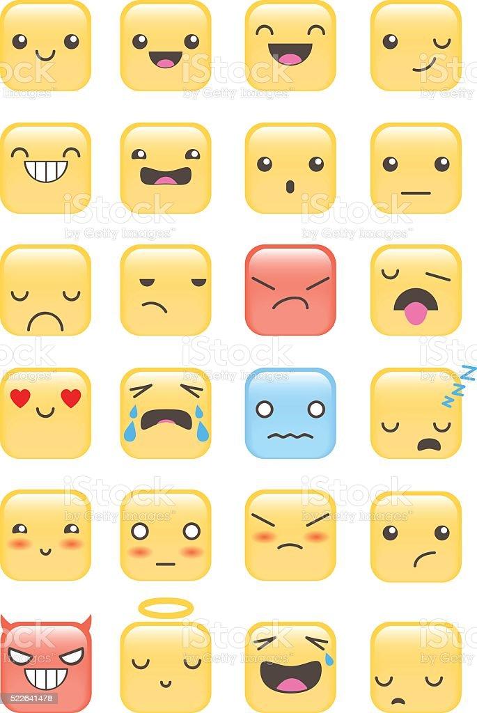 Set of squared emojis vector art illustration
