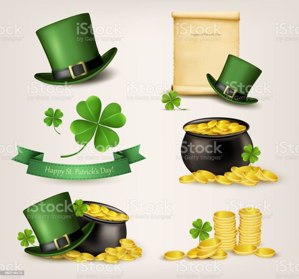 Set of St. Patrick's Day related icons. Vector. royalty-free stock vector art