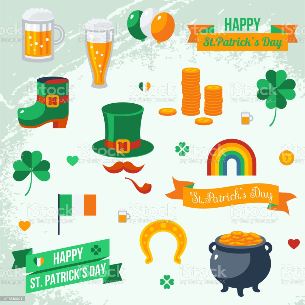 Set of St. Patrick's Day symbols. vector art illustration