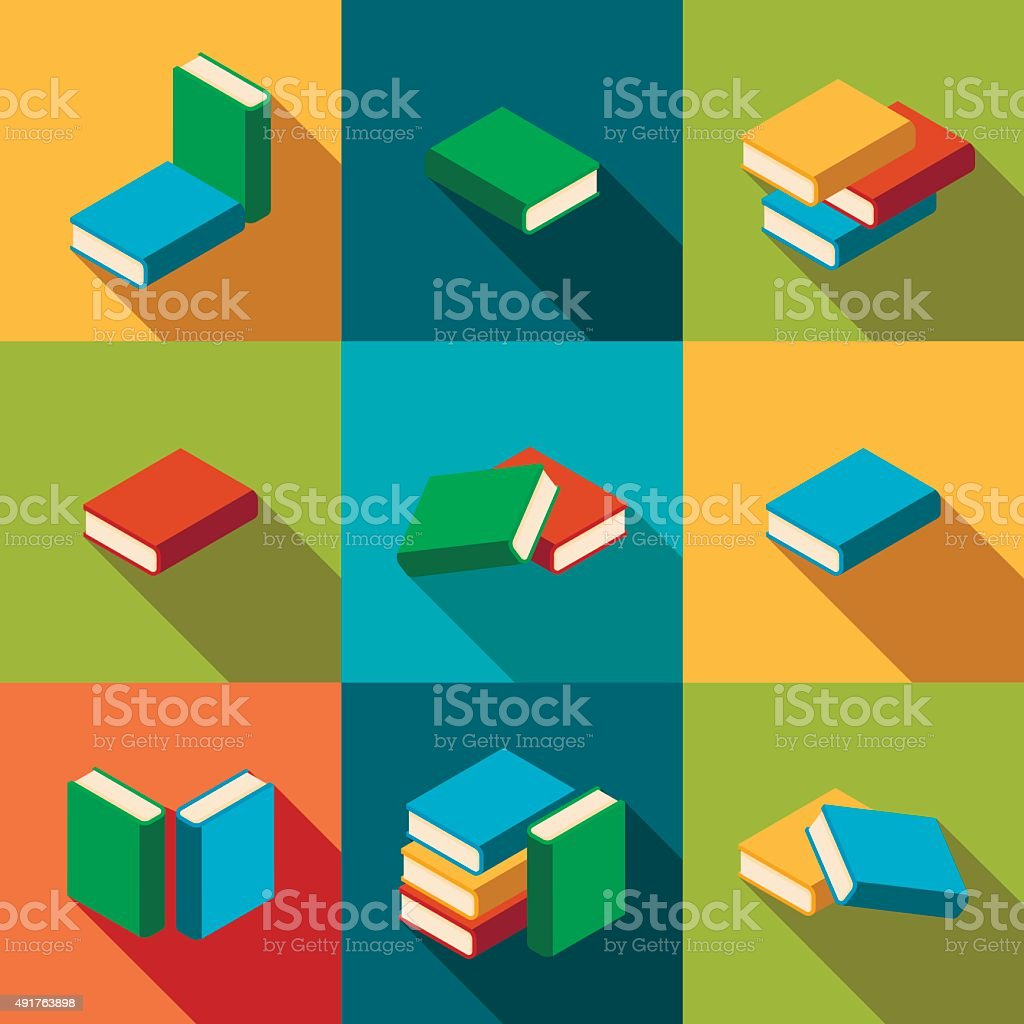 Set of stacks of multi colored books with shadow vector art illustration
