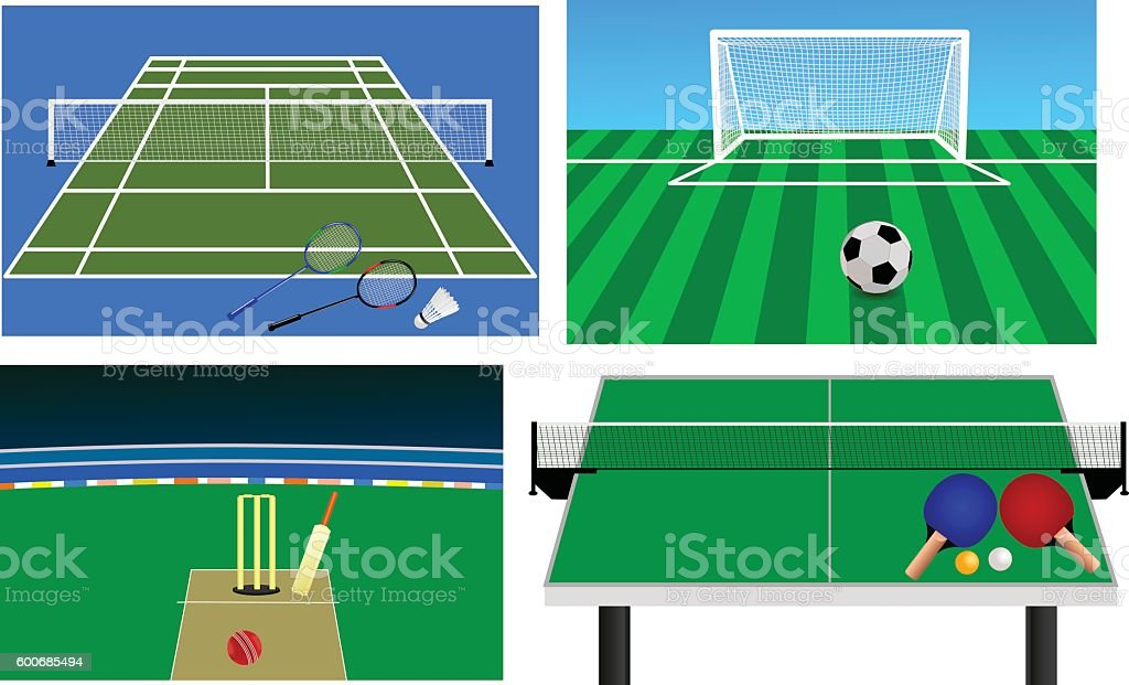 Set of Stadium vector art illustration