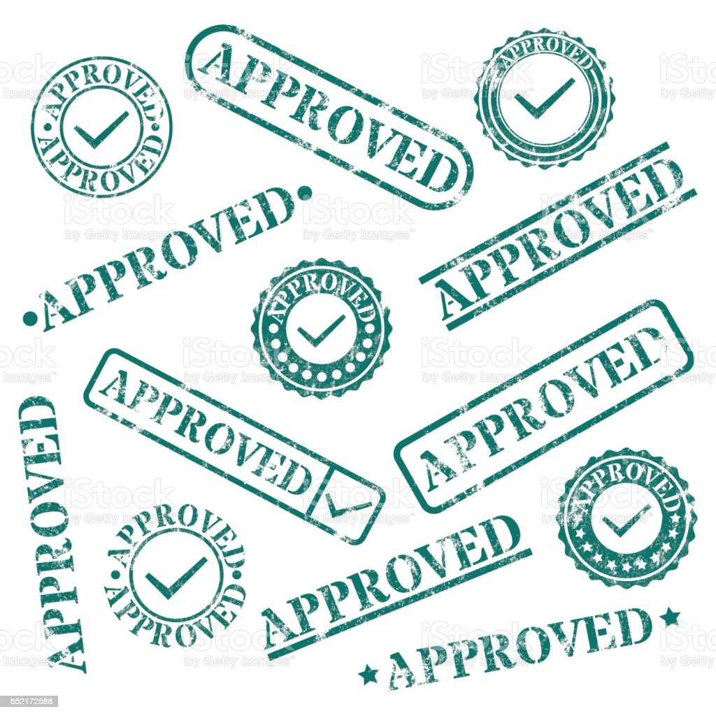 A set of stamps approved, vector illustration. vector art illustration