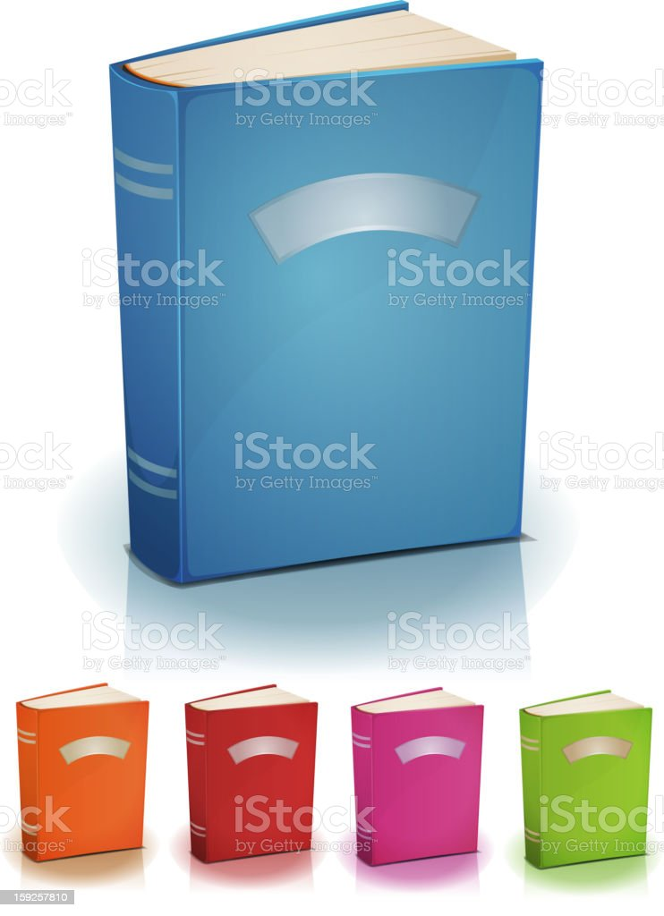 Set Of Standing Books With Label vector art illustration
