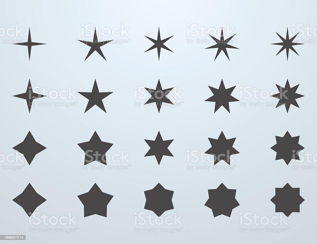 Set of stars vector art illustration