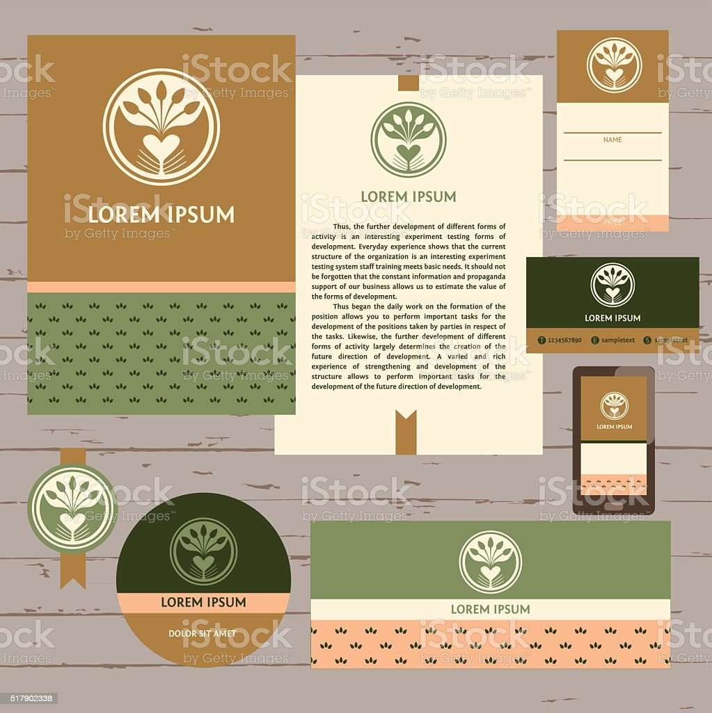 Set of stationery items for locally farm. vector art illustration