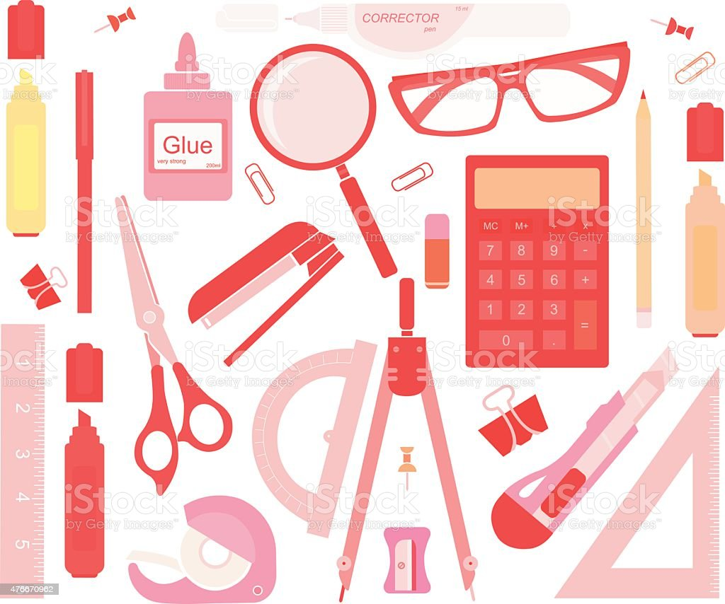 Set of stationery tools no outlines vector art illustration