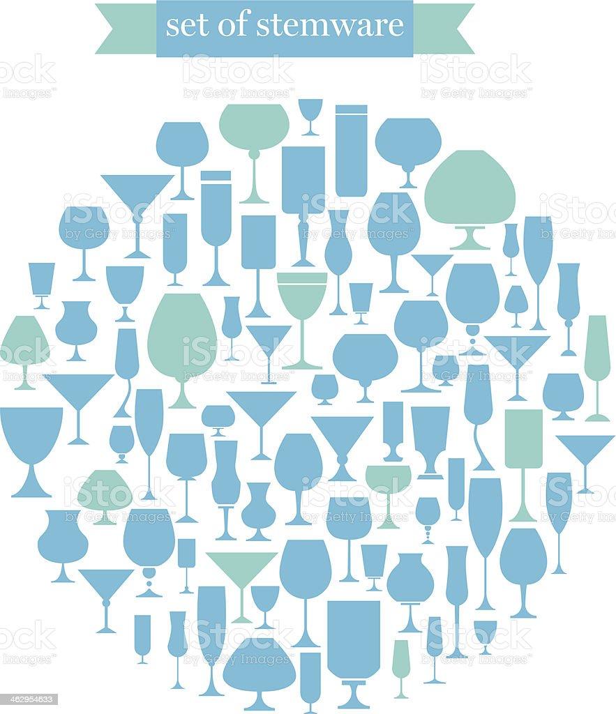 set of stemware vector art illustration