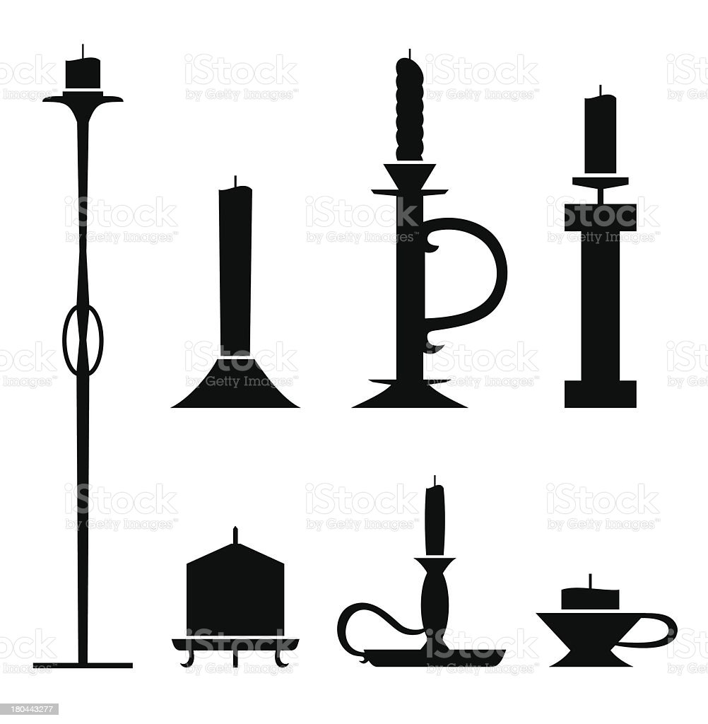Set of stencil candlesticks with candles vector art illustration