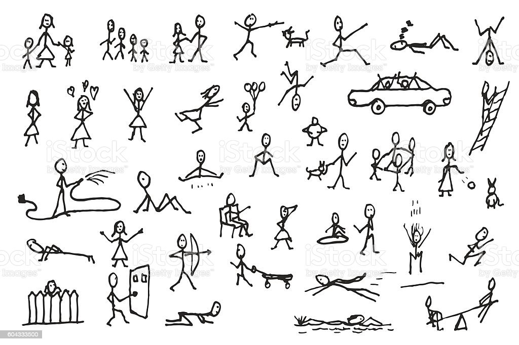 Set of stick figures in motions vector art illustration