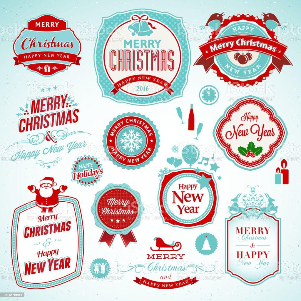 Juego de pegatinas y tarjetas de año nuevo y Navidad illustracion libre de derechos libre de derechos