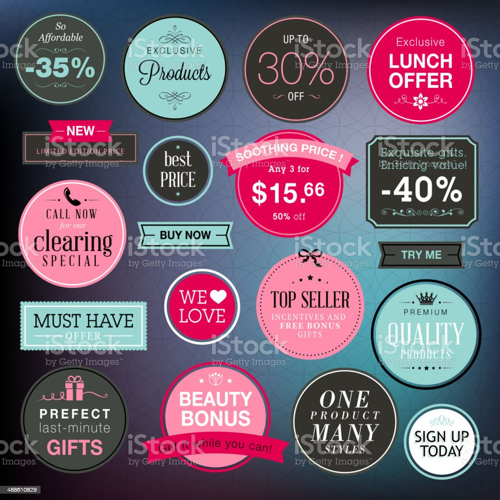 Set of stickers and badges for sale vector art illustration