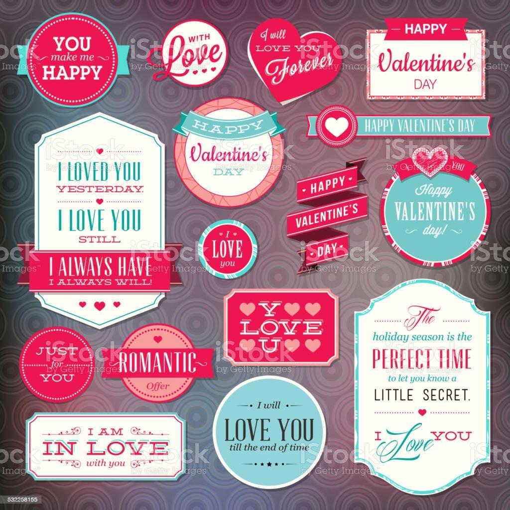 Juego de pegatinas y distintivos para San Valentín illustracion libre de derechos libre de derechos