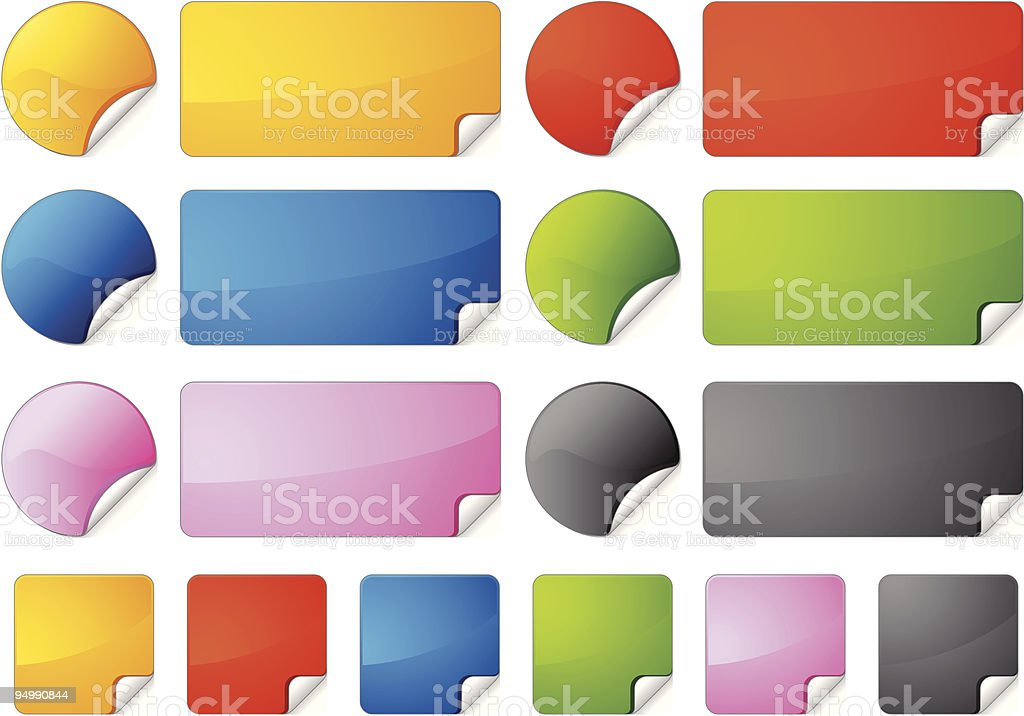 Set of stickers of different shapes and colors royalty-free stock vector art