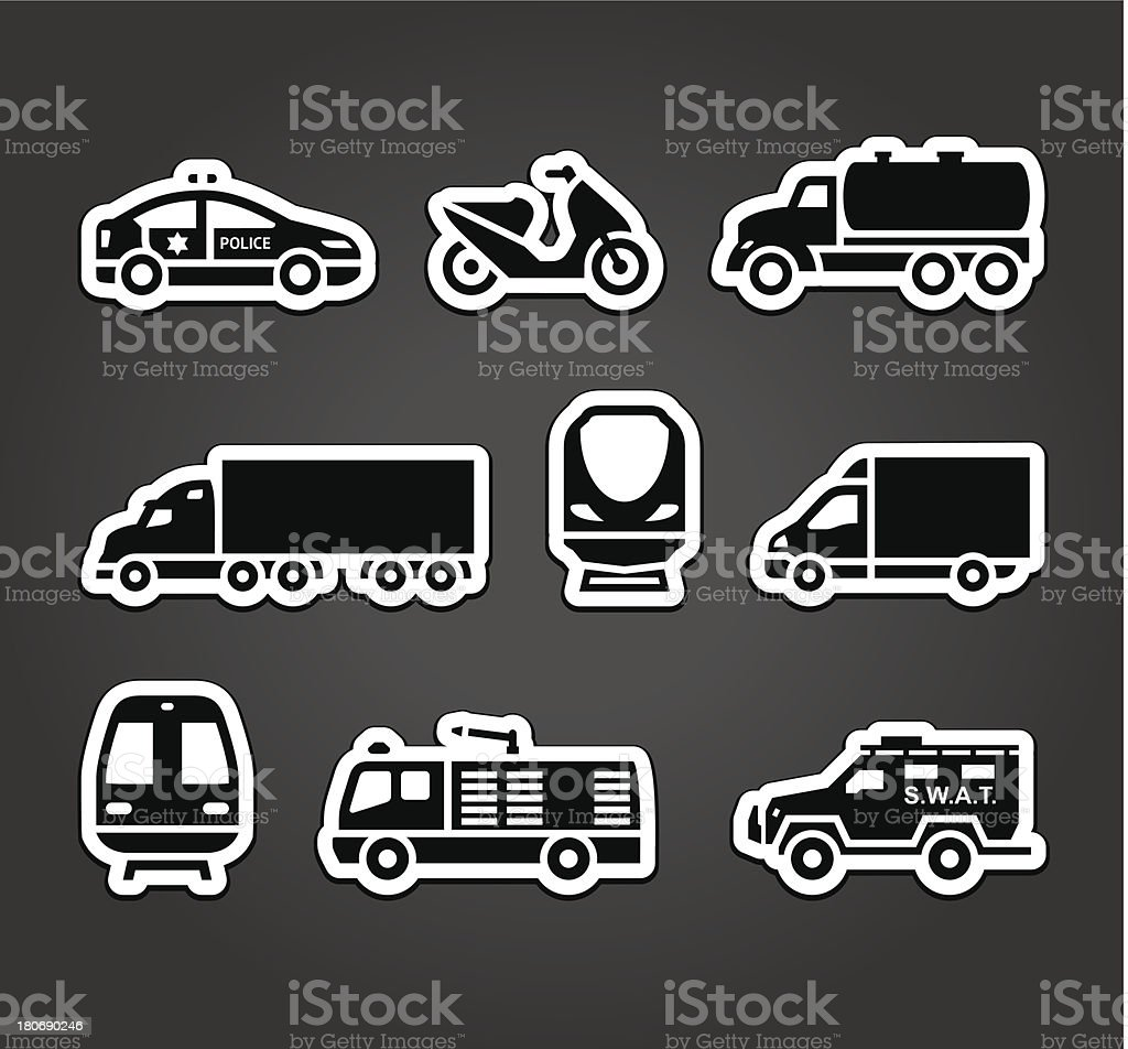 Set of stickers, transport symbols royalty-free stock vector art