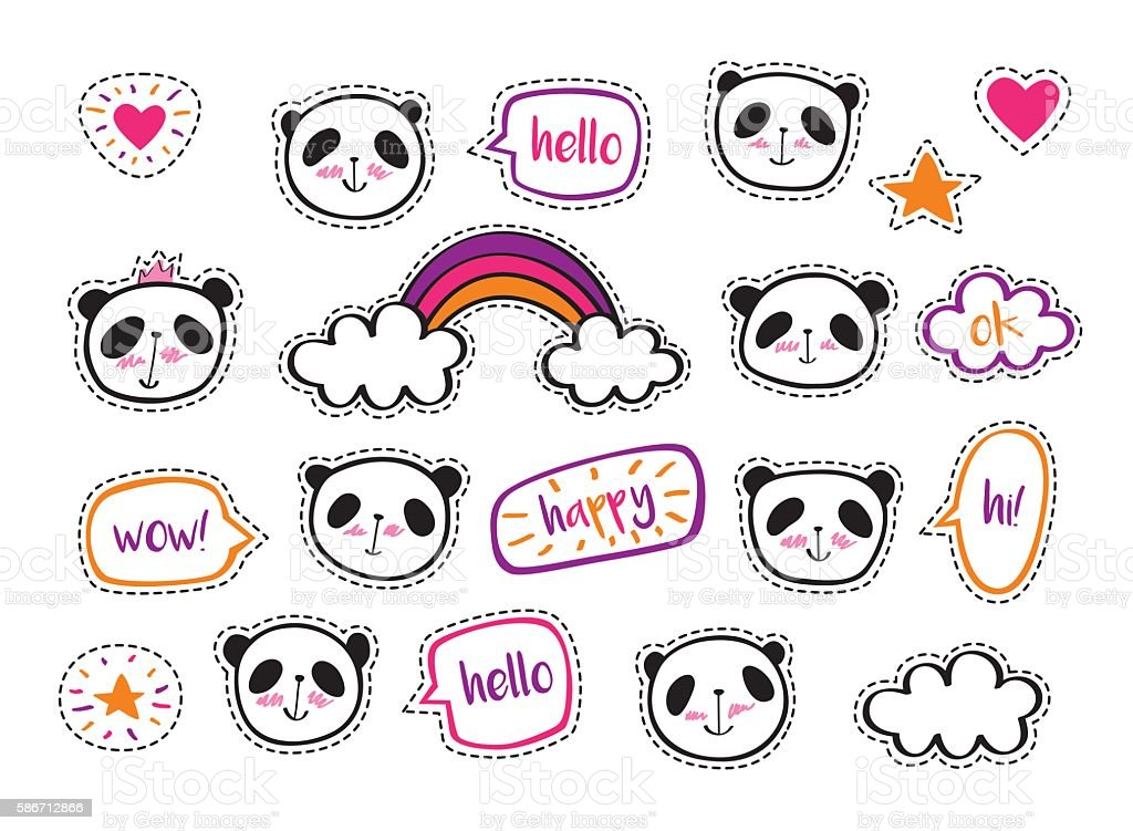 Set of stickers with cute pandas, hearts, stars and bubbles. vector art illustration