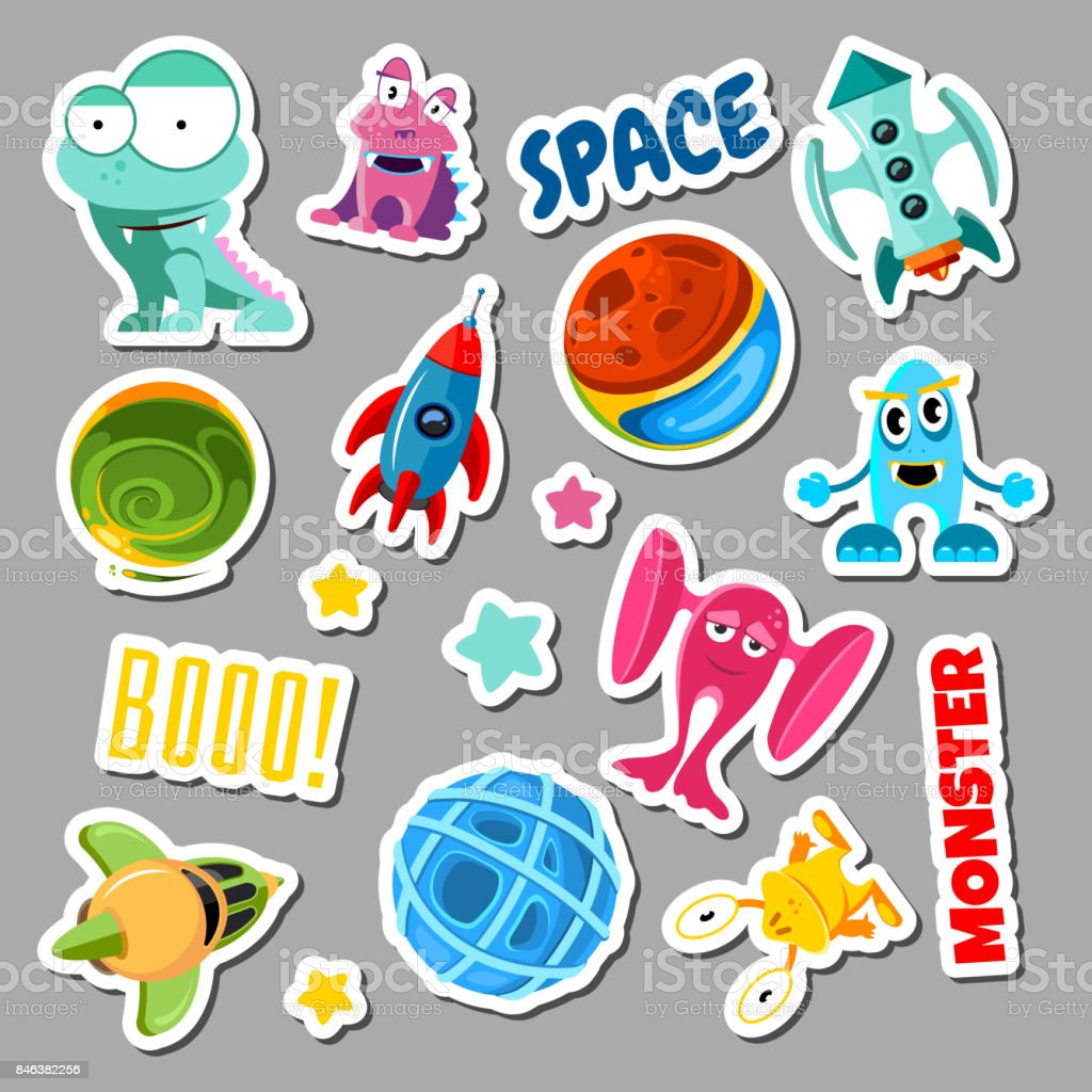 Set of stickers with space objects and monsters. Cartoon vector illustration for children vector art illustration