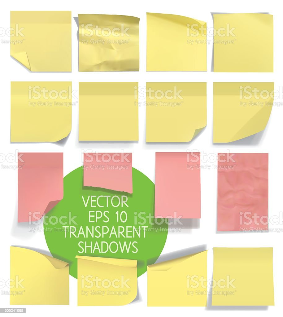 Set of sticky notes. Vector illustration with transparencies. vector art illustration