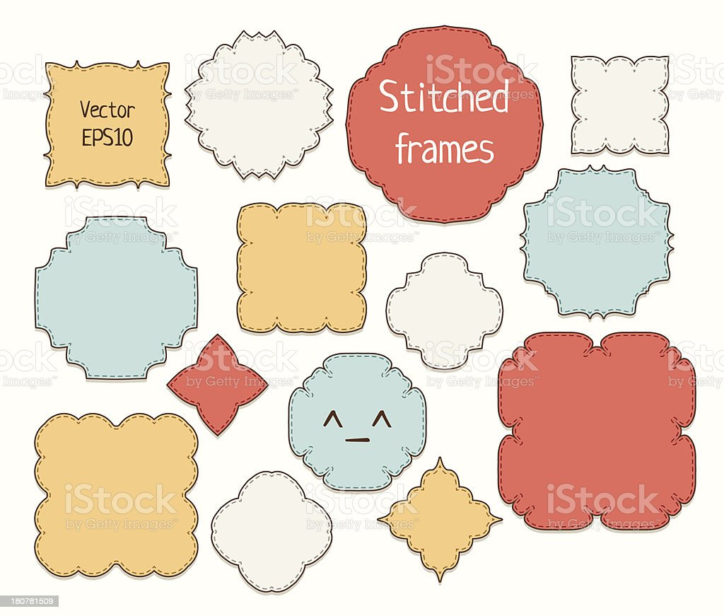 Set of stitched retro frames. royalty-free stock vector art
