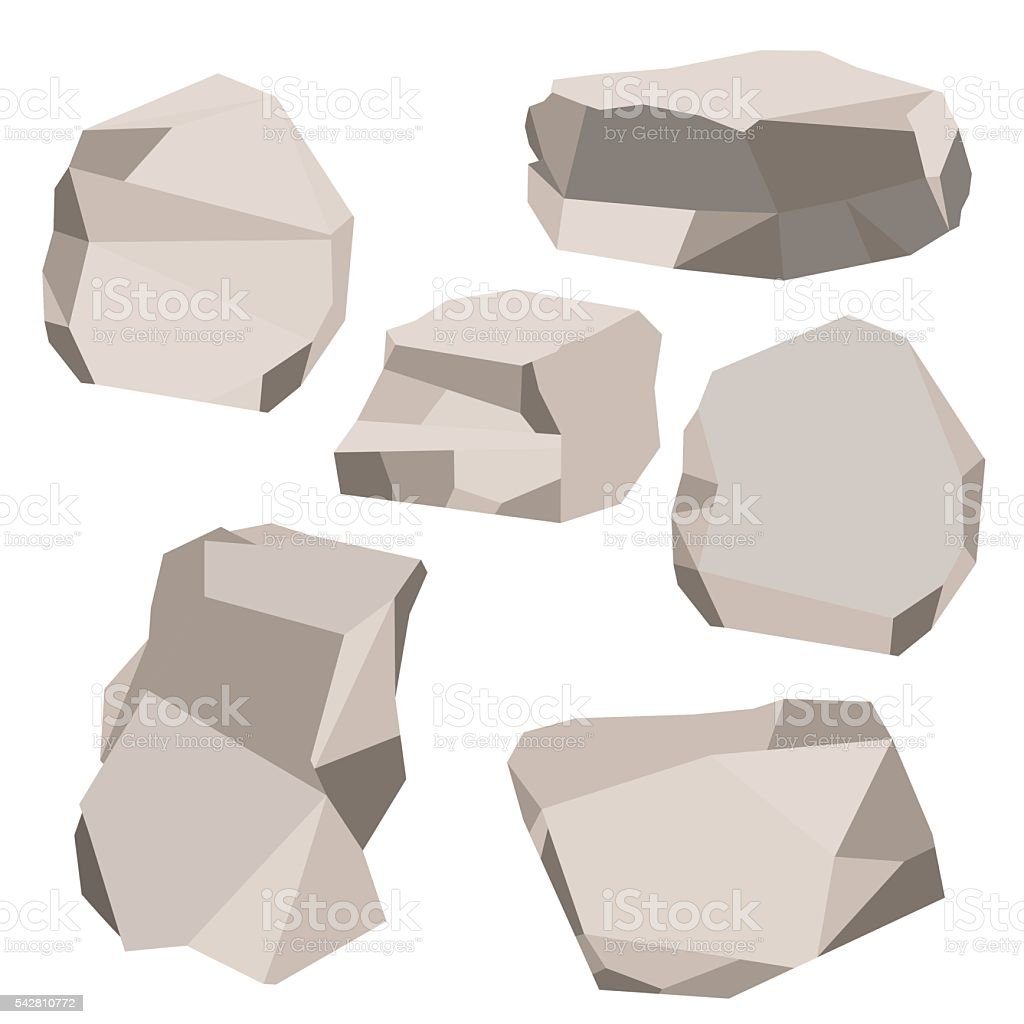 set of stone vector art illustration