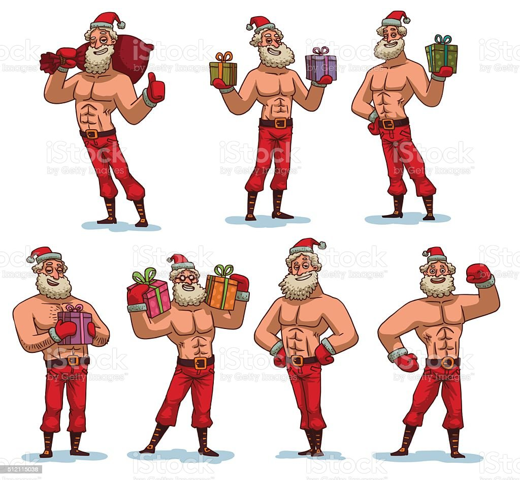Set of strong Santa Clauses vector art illustration