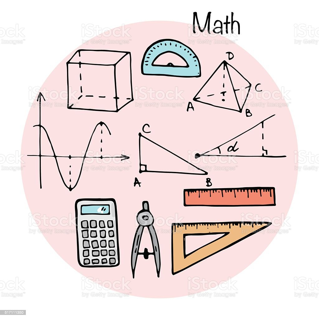 Set of stydying elements. Math topic. vector art illustration