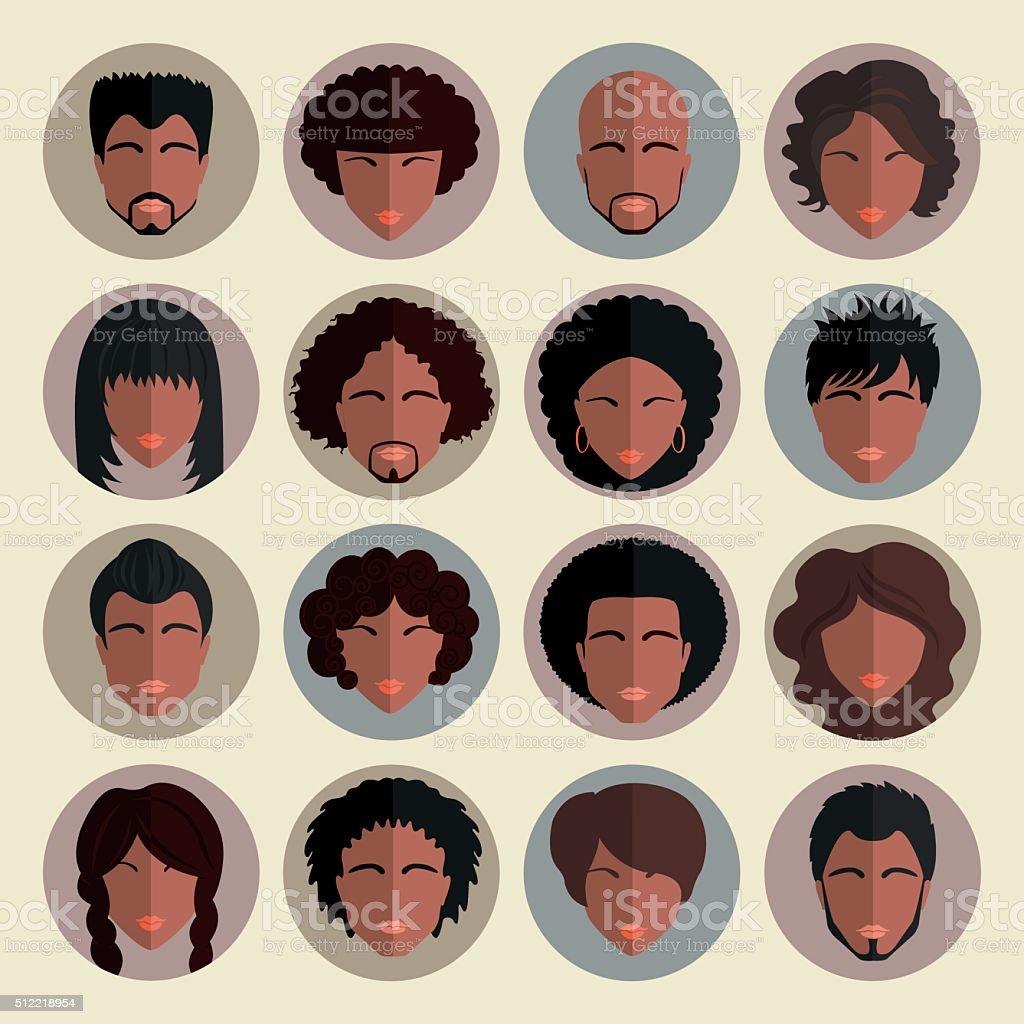 Set of stylish avatars african american people  in flat design. vector art illustration