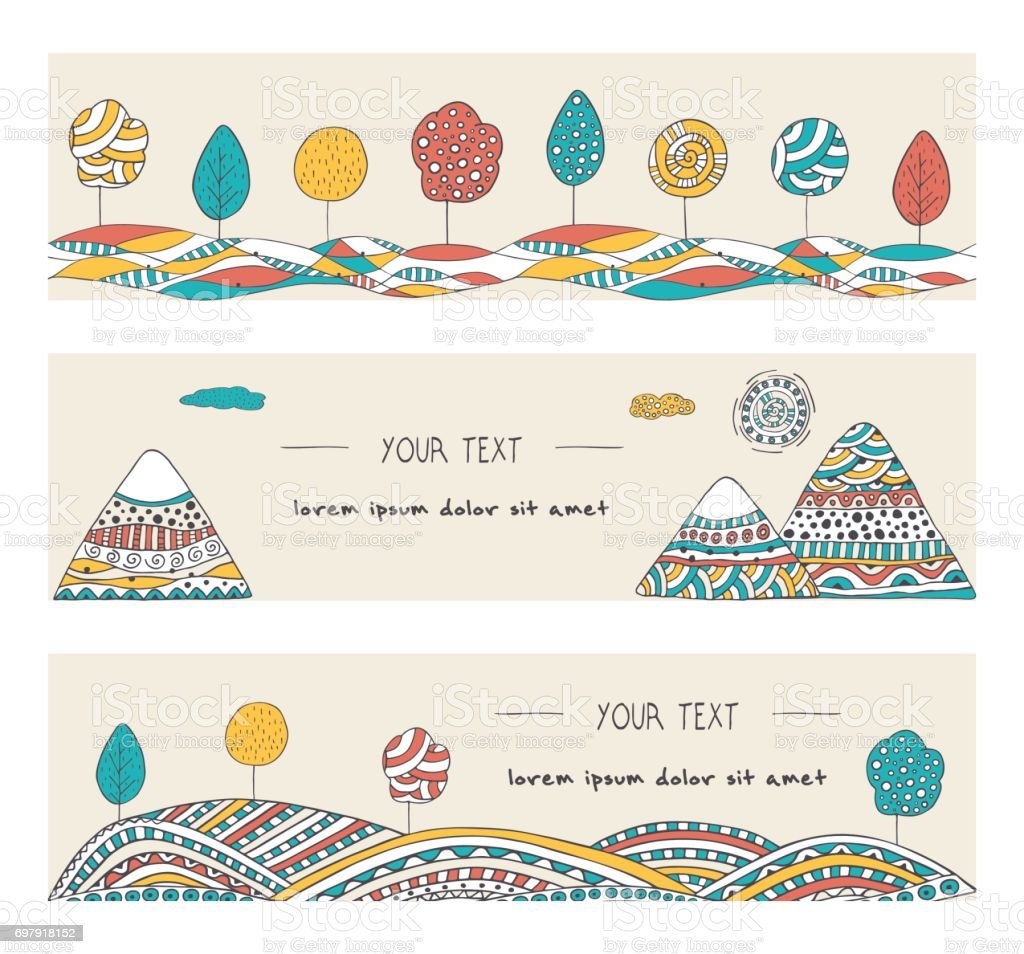 Set of stylish, hand drawn banners design. Vector backgrounds with mountains, trees, sun and hills, decorated in doodle style. vector art illustration