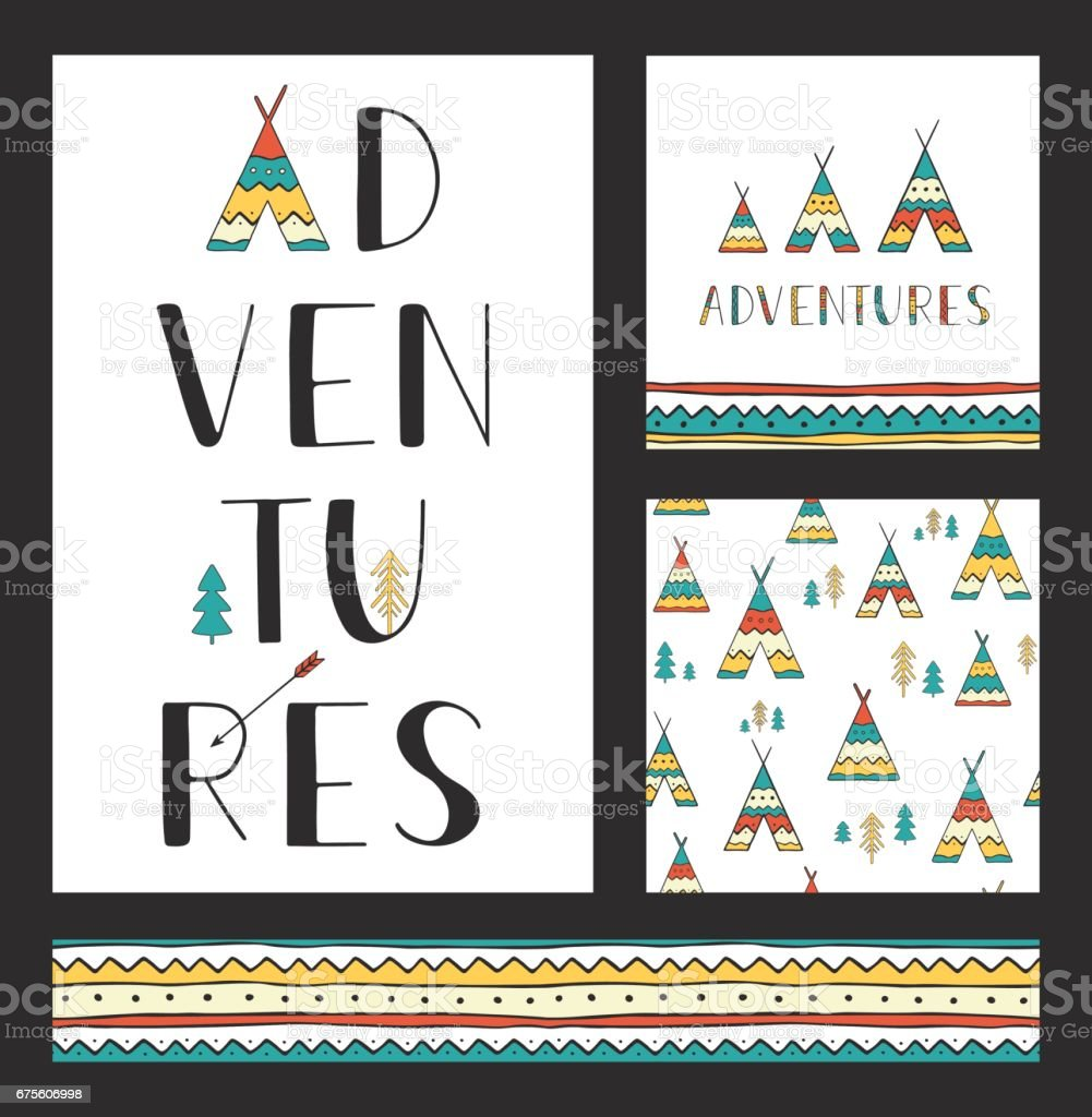 Set of stylish outdoor cards template. Adventures. Vertical hand drawn lettering with seamless backgrounds and ethnic design elements: wigwams, trees and arrow. vector art illustration