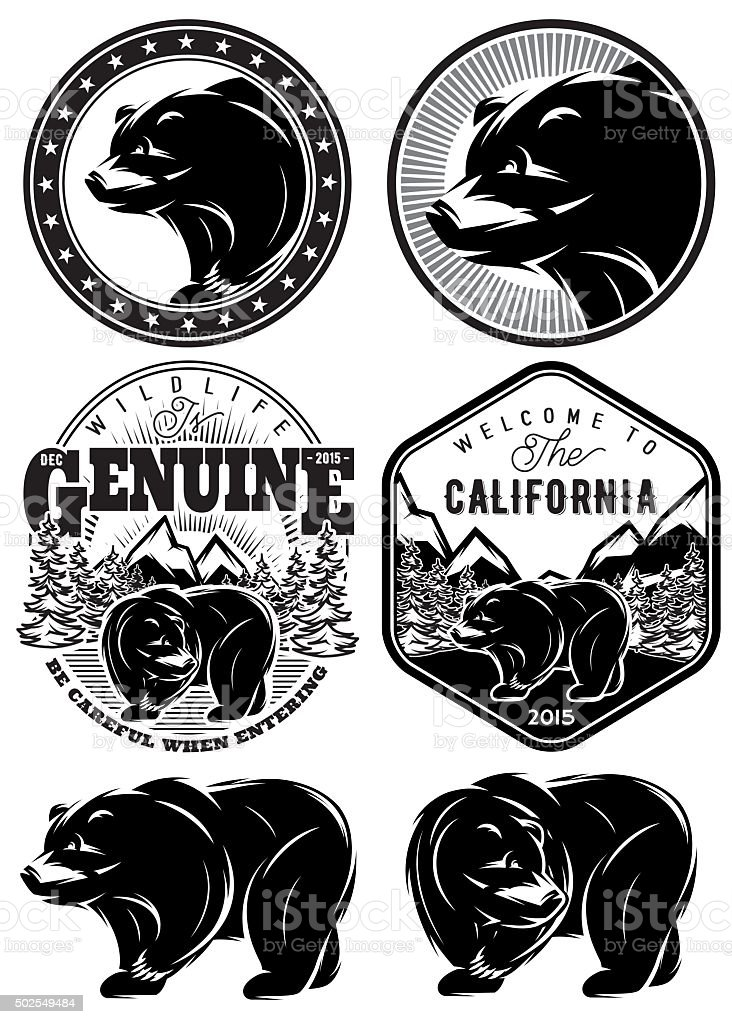 set of stylish retro badges with bears forest mountains vector art illustration