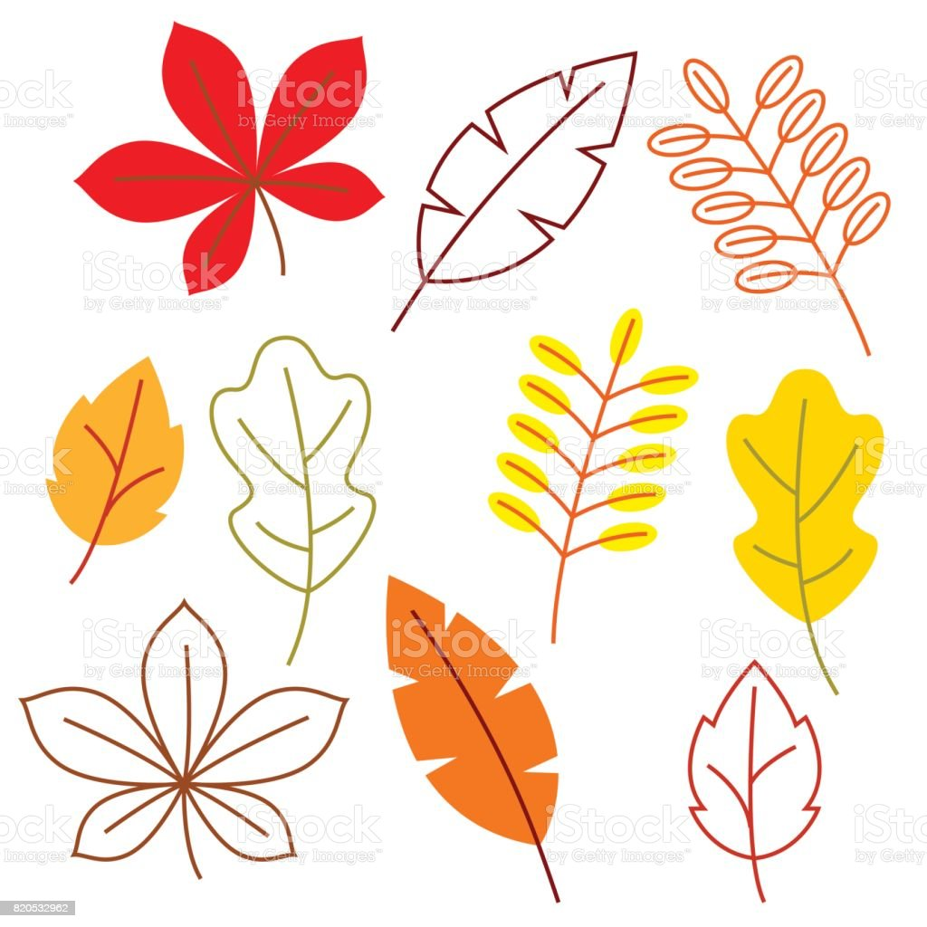 Set of stylized autumn foliage. Falling leaves in simple style vector art illustration