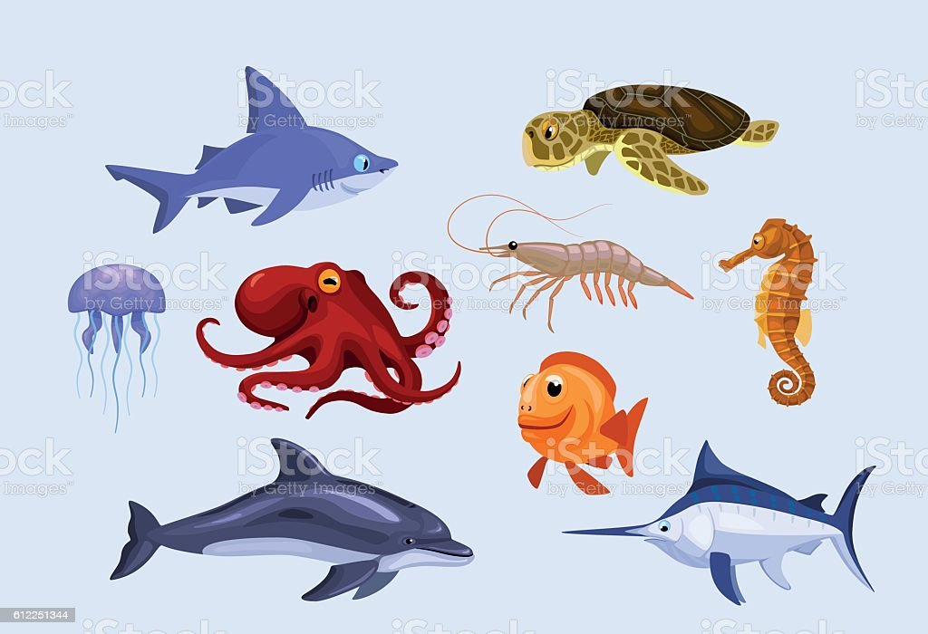 set of stylized cartoon sea and ocean underwater animals