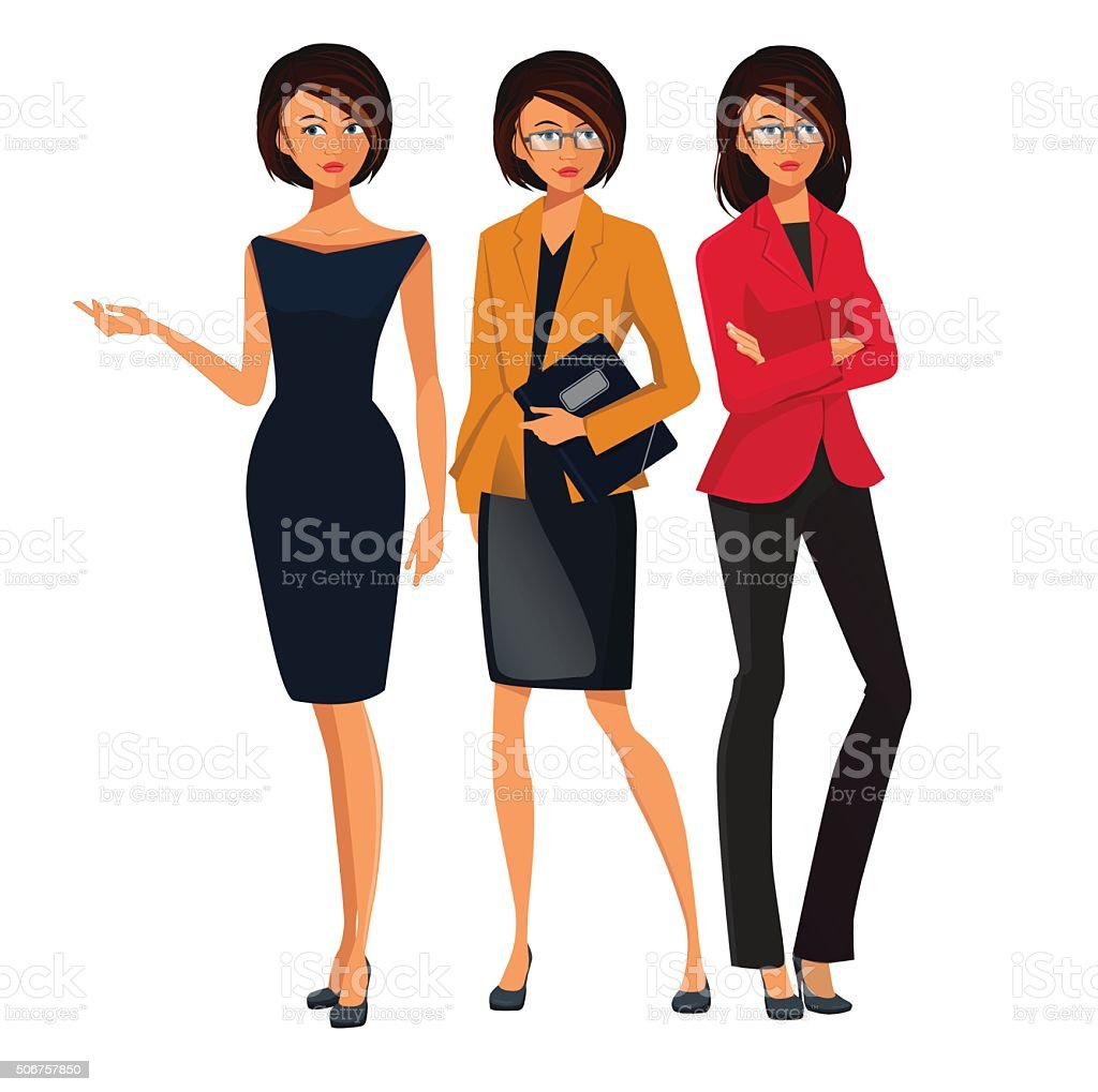 Set of Successful Business Women . Woman Pointing vector art illustration