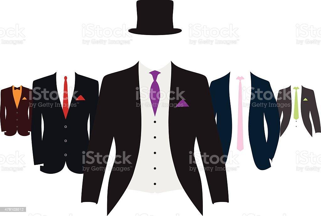 set of suits vector art illustration