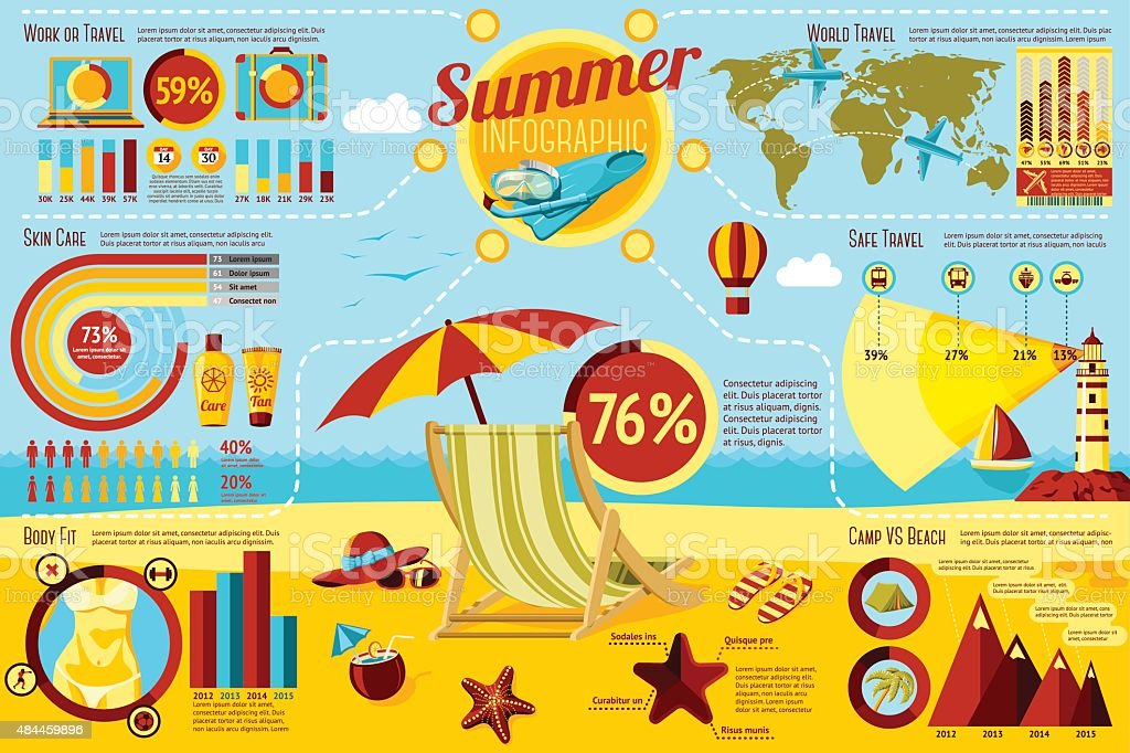Set of Summer and Travel Infographic elements with icons, different vector art illustration
