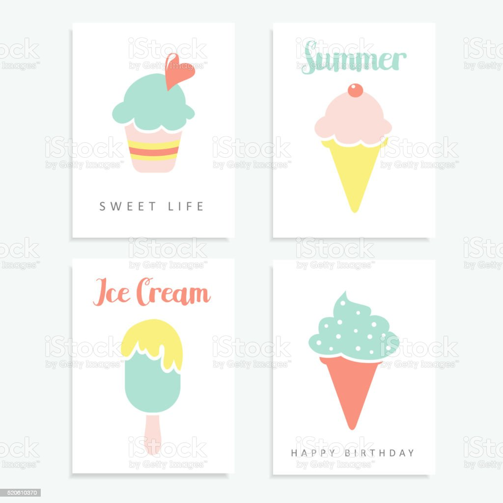 Set of summer cards  with ice cream, sundae, popsicle, vector vector art illustration