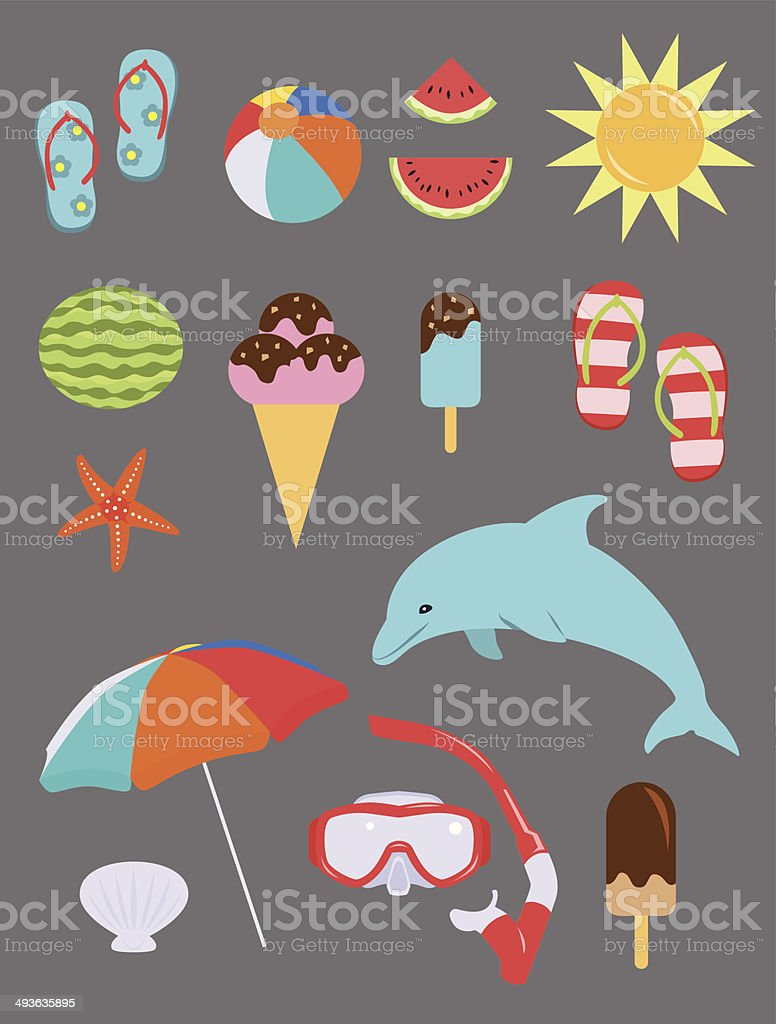Set of Summer Fun Objects royalty-free stock vector art