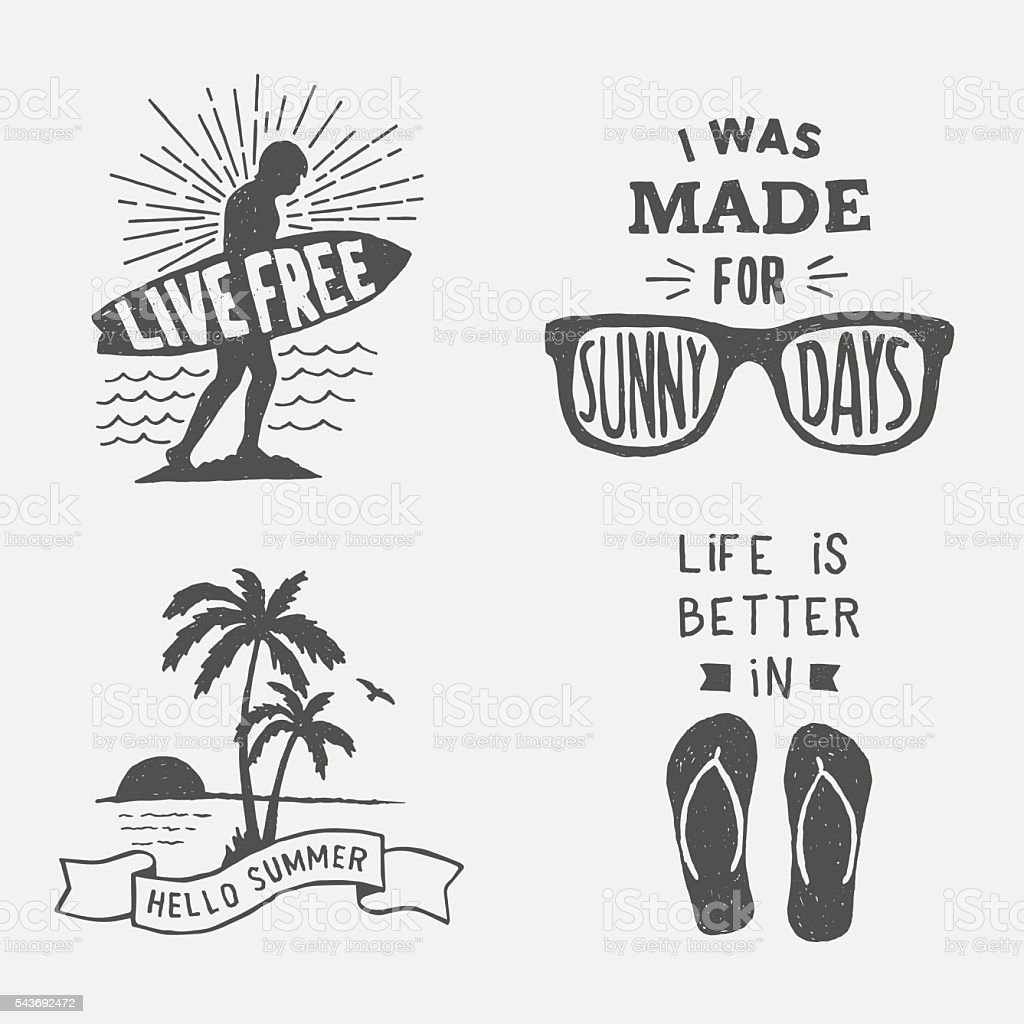 set of summer hand drawn typography posters, emblems and quotes. vector art illustration