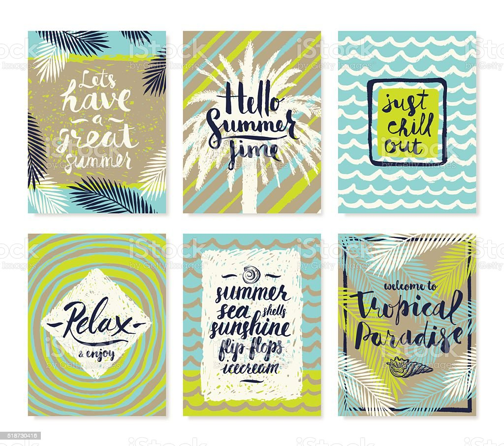 Set of summer holidays and tropical vacation posters vector art illustration