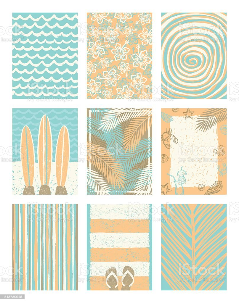 Set of summer holidays and vacation posters or greeting card. vector art illustration