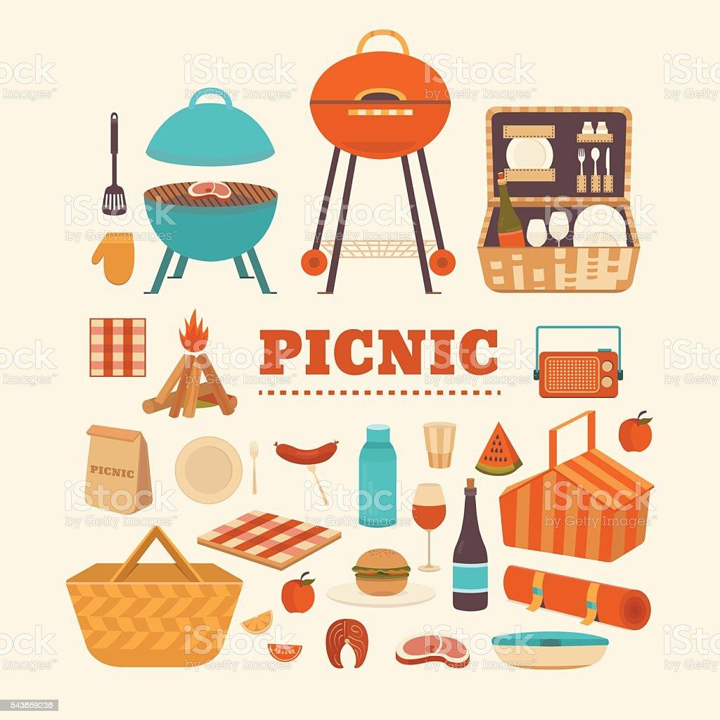 Set of summer picnic vector art illustration