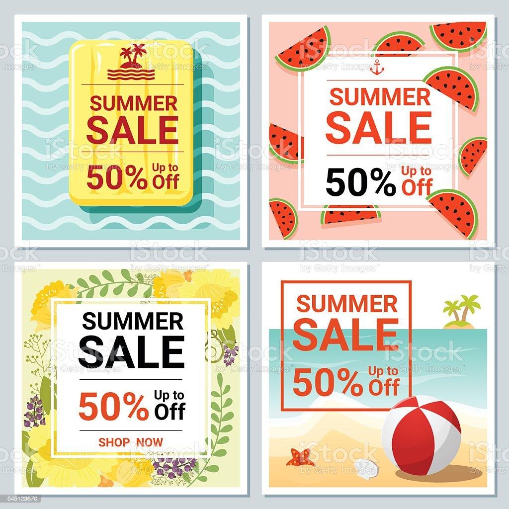 set of summer template banner stock vector art  set of summer template banner 2 royalty stock vector art