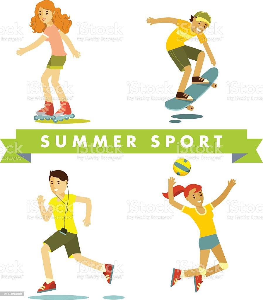 Set of summer sports and activities in flat style vector art illustration