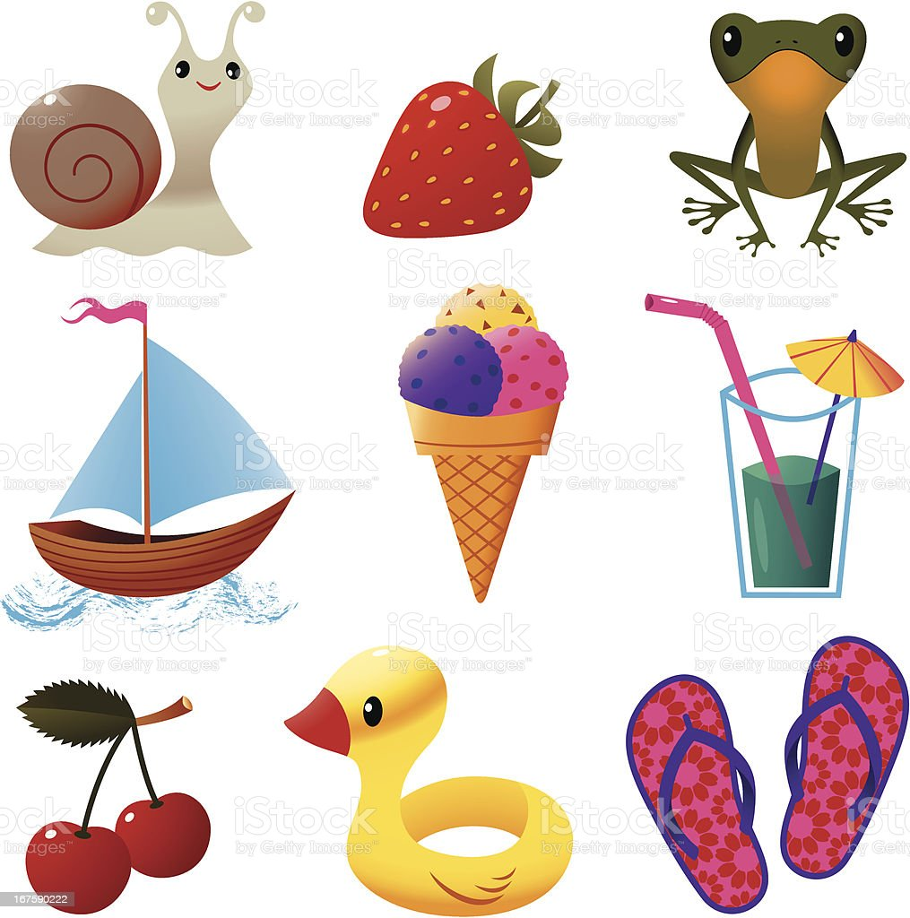 Set of Summer Stuff. vector art illustration