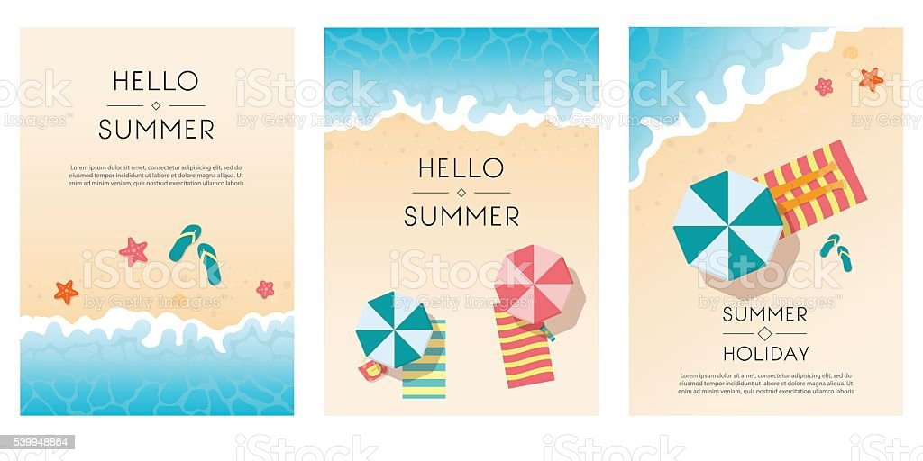 Set of summer travel flyers with beach items and wave. vector art illustration