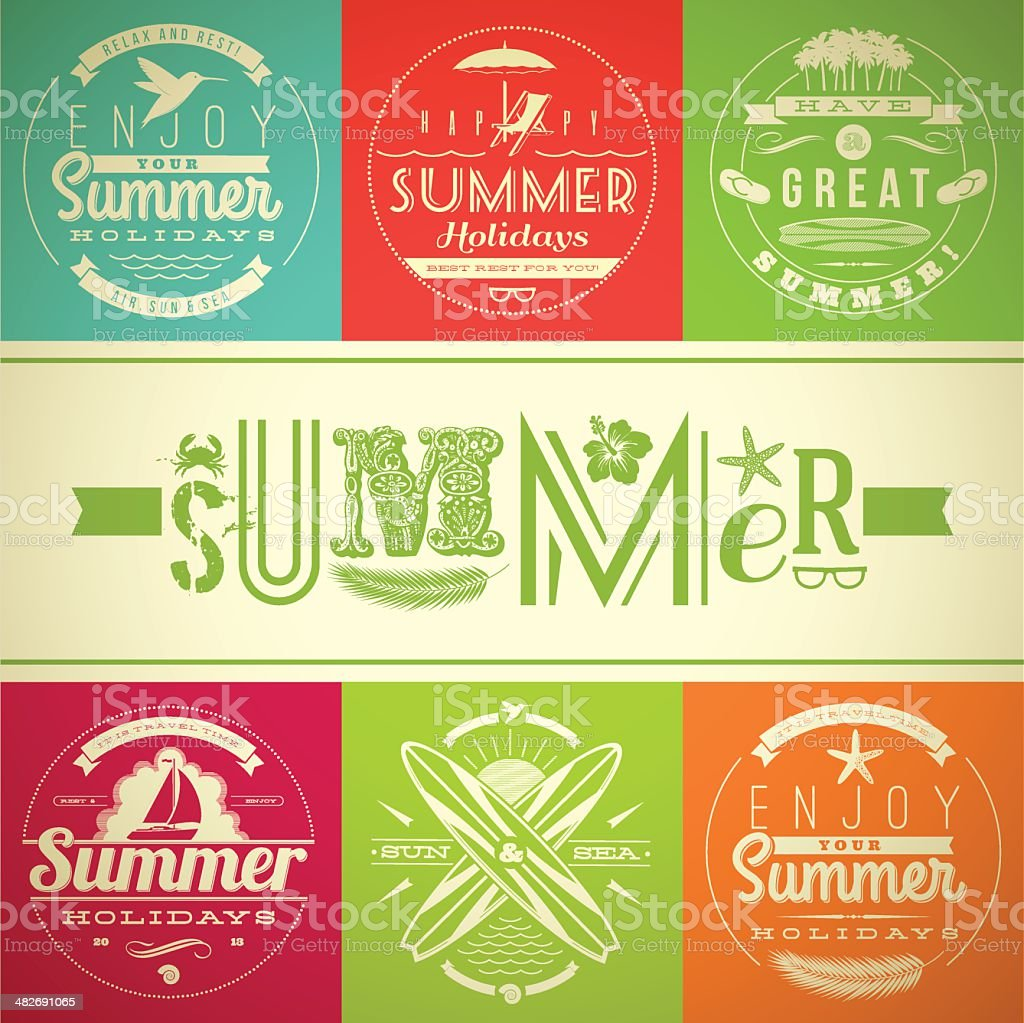 Set of summer vacation and holidays emblems with lettering vector art illustration