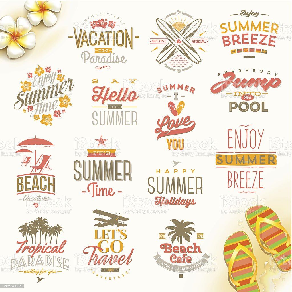 Set of summer vacation and travel  type design vector art illustration