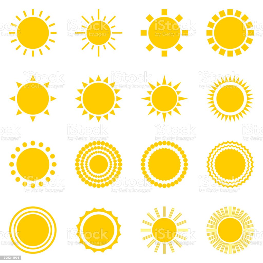 Set of sun icons isolated on white background vector art illustration