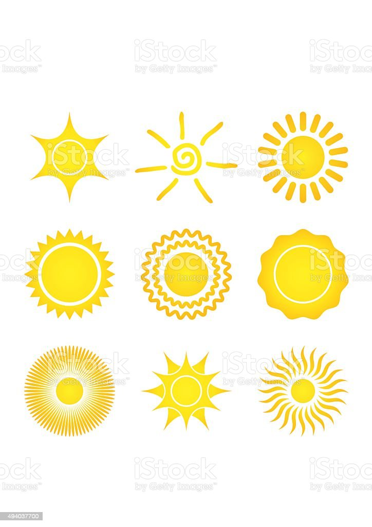 Set of Sun Icons on a white background. vector art illustration