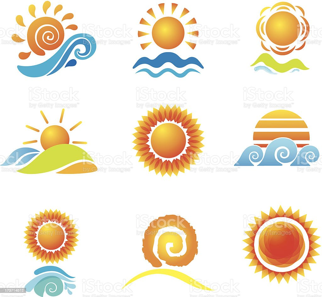 Set of Suns. Original Design Elements. royalty-free stock vector art
